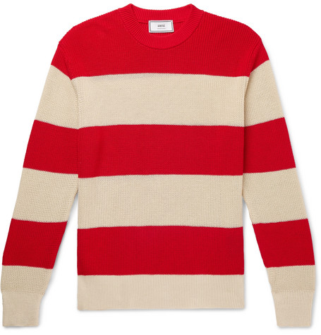 AMI – Striped Cotton Sweater – Red