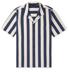 AMI Slim-Fit Camp-Collar Striped Cotton Shirt