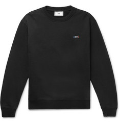 AMI Logo-Embroidered Loopback Cotton-Jersey Sweatshirt