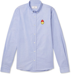 AMI + The Smiley Company Button-Down Collar Logo-Embroidered Cotton Oxford Shirt