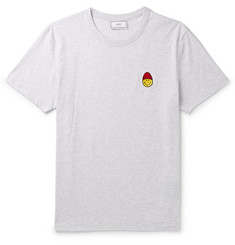 AMI + The Smiley Company Logo-Appliquéd Mélange Cotton-Jersey T-Shirt