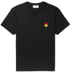 AMI + The Smiley Company Slim-Fit Logo-Embroidered Cotton-Jersey T-shirt