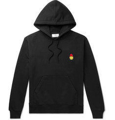 AMI + The Smiley Company Slim-Fit Embroidered Loopback Cotton-Jersey Hoodie