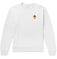 AMI + The Smiley Company Appliquéd Mélange Loopback Cotton-Jersey Sweatshirt