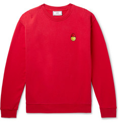 AMI + The Smiley Company Logo-Appliquéd Loopback Cotton-Jersey Sweatshirt