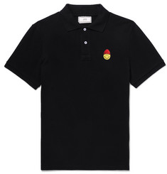 AMI + The Smiley Company Logo-Appliquéd Cotton-Pique Polo Shirt