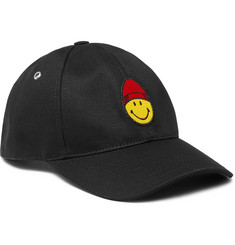 AMI + The Smiley Company Logo-Embroidered Cotton-Twill Baseball Cap