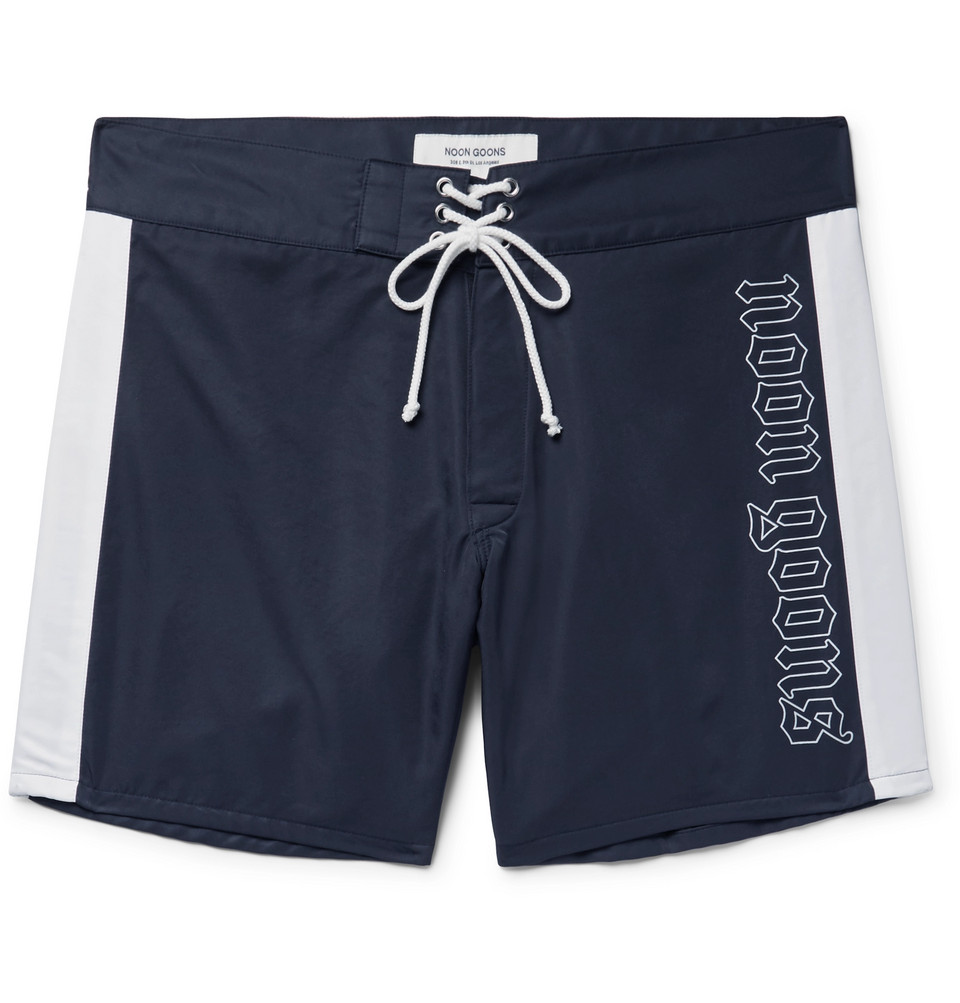 Logo-print Shell Swim Shorts - Midnight blue