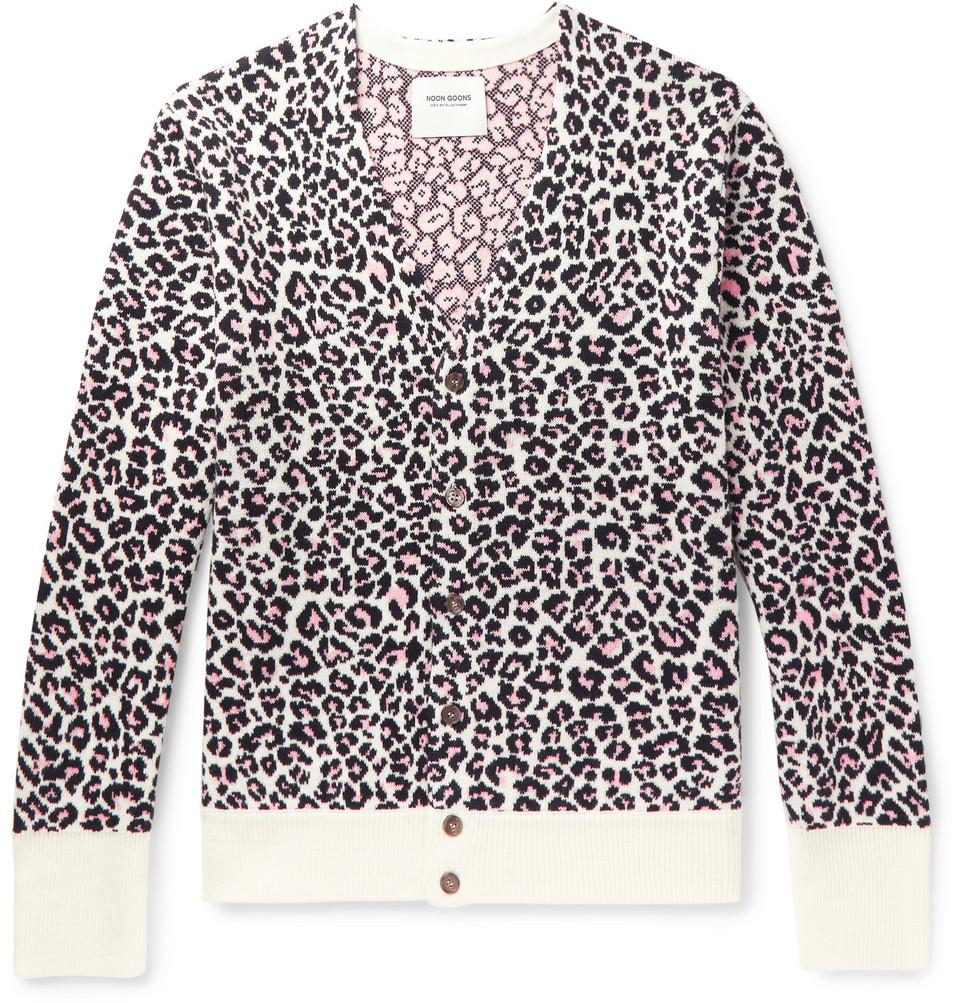 Chatterbox Leopard-jacquard Cardigan - Pink