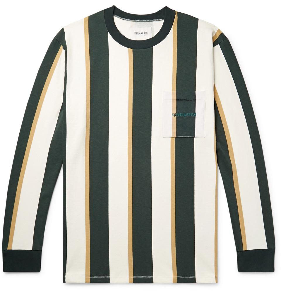 Mumma Logo-embroidered Striped Cotton-jersey T-shirt - Forest green