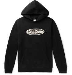 Noon Goons Last Stop Flocked Logo-Print Fleece-Back Cotton-Jersey Hoodie