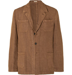 Massimo Alba Brown Unstructured Linen Blazer