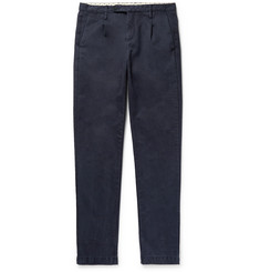 Massimo Alba Blue Slim-Fit Pleated Cotton Trousers