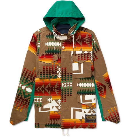 + Pendleton Panelled Canvas And Printed Cotton Corduroy Jacket by Sacai