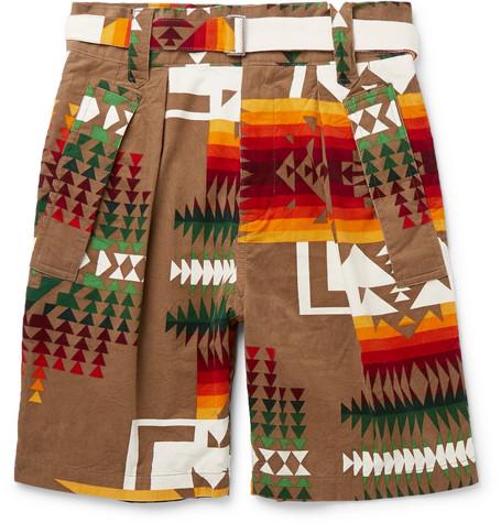 + Pendleton Printed Cotton Corduroy Shorts by Sacai