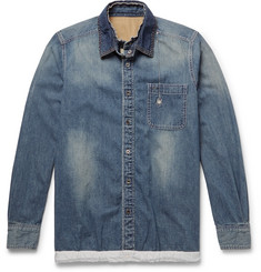 Sacai - + Dr. Woo Embroidered Shell and Grosgrain-Trimmed Denim Shirt