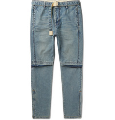 Sacai - Tapered Zip-Detailed Denim Jeans