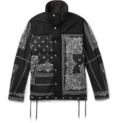 Sacai Printed Cotton-Canvas and Matte-Satin Jacket