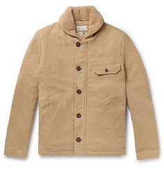 Universal Works N1 Shawl-Collar Faux Shearling-Trimmed Cotton-Twill Jacket