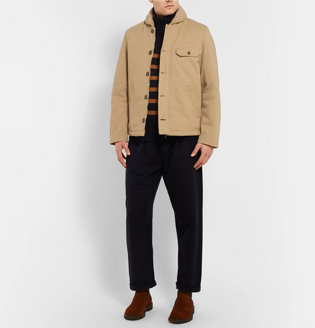 N1 Shawl Collar Faux Shearling Trimmed Cotton Twill Jacket by Universal Works