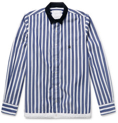 Sacai + Dr. Woo Embroidered Corduroy-Trimmed Striped Cotton Shirt