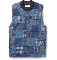 Universal Works Slim-Fit Indigo-Dyed Patchwork Printed Cotton Gilet