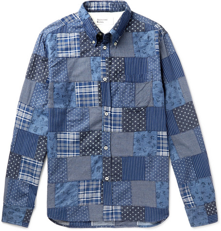 Button Down Collar Patchwork Printed Cotton Chambray Shirt by Universal Works