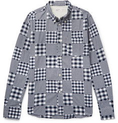 Universal Works Button-Down Collar Patchwork Checked Cotton Shirt