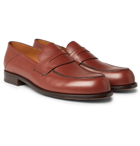 Dennis Collapsible-heel Leather Loafers - Brown