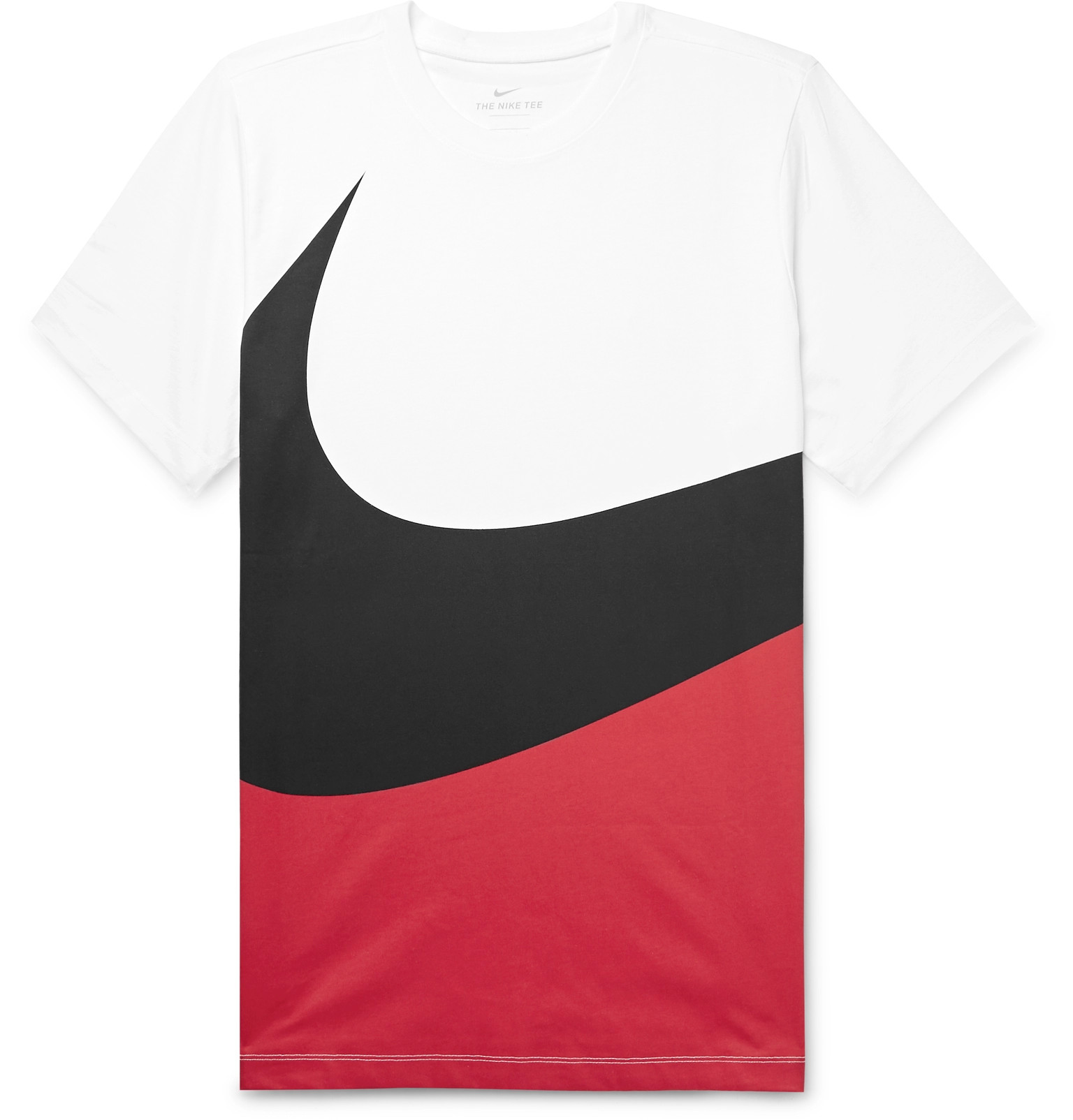 a654618f Nike - Printed Colour-Block Cotton-Jersey T-Shirt