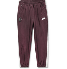 Sportswear Tapered Striped Nylon Track Pants - Burgundy