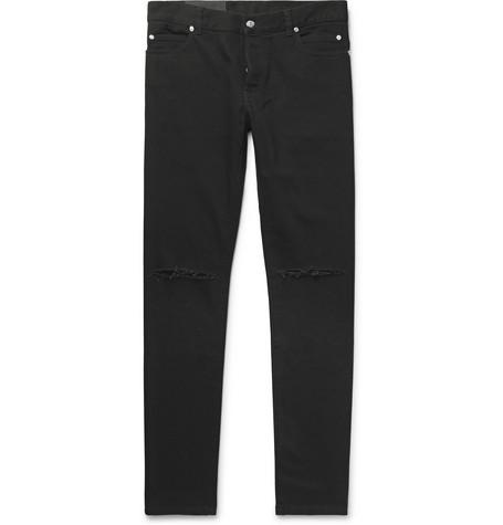 479b54b4 Balmain - Slim-Fit Logo-Embroidered Distressed Denim Jeans