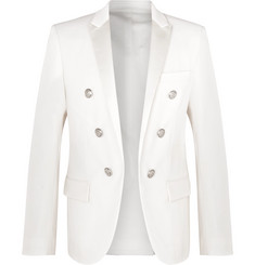 Balmain - White Slim-Fit Double-Breasted Satin-Trimmed Wool Blazer