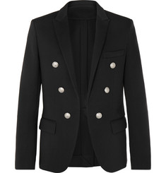 Balmain - Black Slim-Fit Double-Breasted Stretch-Jersey Blazer