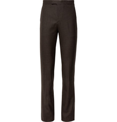 Raf Simons Brown Slim-Fit Checked Wool Suit Trousers