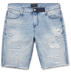 RtA Slim-Fit Embroidered Distressed Denim Shorts