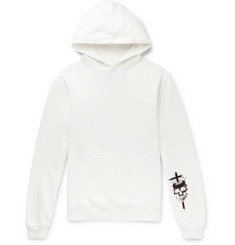RtA Appliquéd Fleece-Back Cotton-Jersey Hoodie