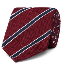 Drake's 8cm Striped Slub Silk-Twill Tie
