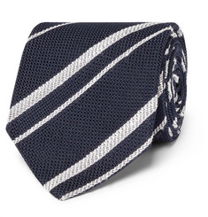 Drake's 8cm Striped Silk-Grenadine Tie