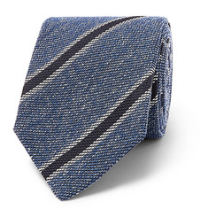 Drake's 8cm Striped Silk, Linen and Wool-Blend Tie