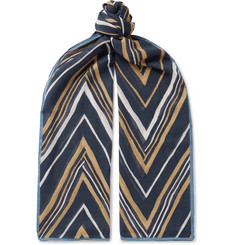 Drake's Chevron Cotton, Modal and Cashmere-Blend Gauze Scarf