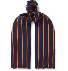 Drake's Striped Voile Scarf