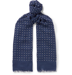 Drake's Polka-Dot Modal and Cashmere-Blend Scarf