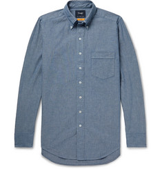Drake's Easyday Button-Down Collar Cotton-Chambray Shirt