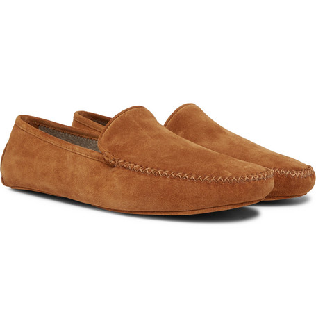 Cashmere Lined Suede Slippers by Thom Sweeney