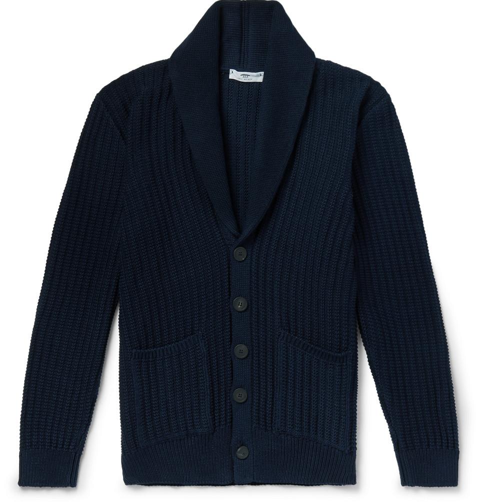Shawl-collar Ribbed Organic Cotton Cardigan - Navy