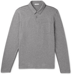 James Perse Mélange Loopback Cotton-Jersey Polo Shirt