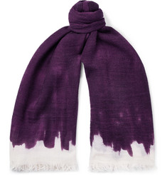 Massimo Alba Fringed Dégradé Wool and Silk-Blend Scarf