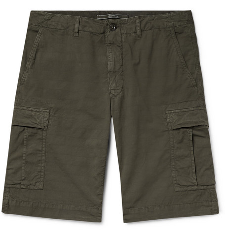 Stretch Cotton Ripstop Cargo Shorts by Incotex