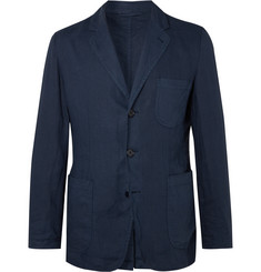 Aspesi - Navy Slim-Fit Unstructured Garment-Dyed Linen Blazer
